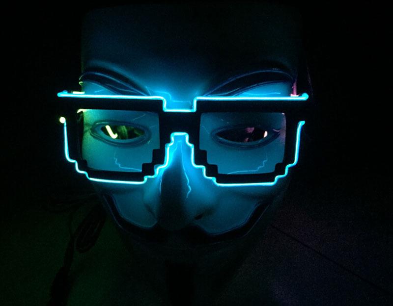 2015 Light up 8 bit pixel fashion sound activated switch el glasses,sunglasses, for party show el wire sunglasses el sunglasses(China (Mainland))