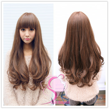 New Style Womens Girls Popular Sexy Long Fashion Full Wavy Hair Wig 4 Colors + FREE GIFT Hairnet Black and Brown , Free Shipping