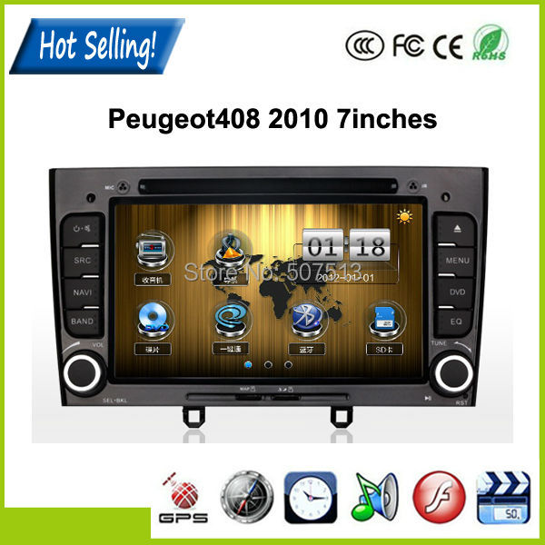 Double Din 7Inches Car DVD Player For Peugeot408 2010 in Car DVD Player GPS Navigation In dash DVD/MP3+8GB Card Map(China (Mainland))