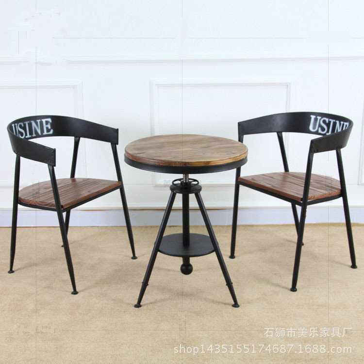 Retro Furniture Wrought Iron Wood Round Coffee Table Bar Tea Shop Cafe Chairs Creative Leisure