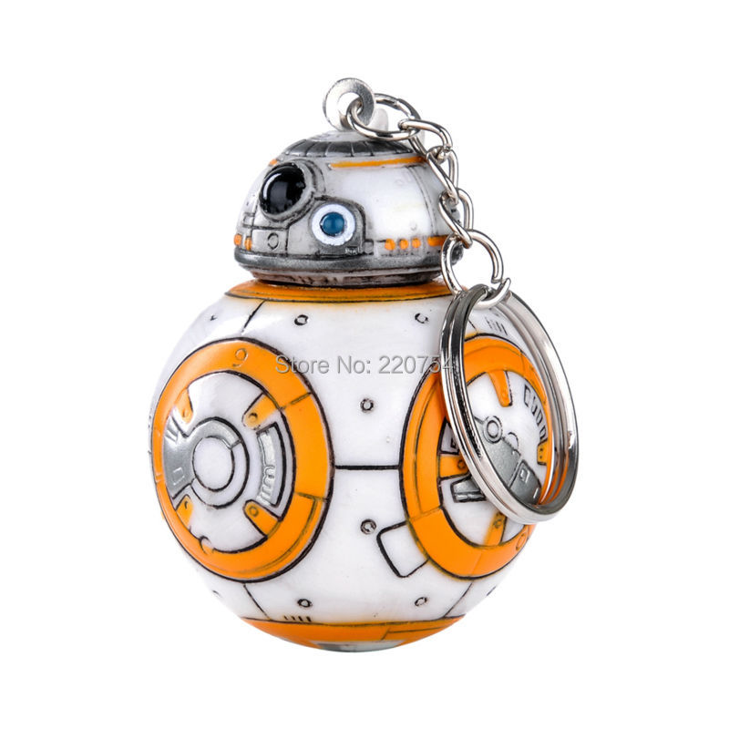 1pcs 2.2inch Star Wars The Force Awakens BB8 BB-8 R2D2 Droid Robot keychain Action Figure stormtrooper Clone Strap New year toys(China (Mainland))