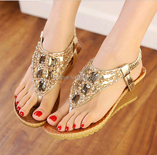 Fashion New 2016 Women Summer Shoes Sexy Rhinestone Ladies Sandals New Brand Leather Womans Flip Flops Tacones ALN002