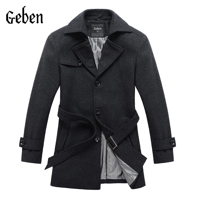 2015 Mens Pea Coat Male Manteau Homme Overcoat Winter Wool Coat Men Long Coat Casaco Masculino Brand Geben high quality134021(China (Mainland))
