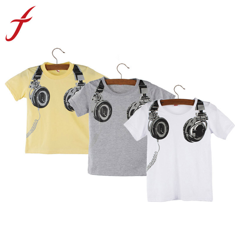 Feitong New Fashion Boy Kids Summer Clothing Casual 3D Headphone Short Sleeve Tops Blouses T Shirt Tees Clothes Free Shipping(China (Mainland))