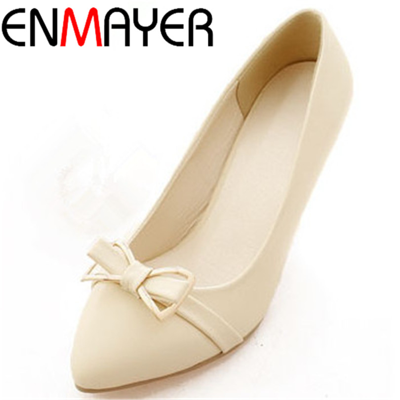 ENMAYER fashion and mature women pumps basic slip-on PU shoes for ladies Spring and Autumn Bowtie thin heels beautiful pumps<br><br>Aliexpress