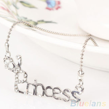 Fashion Crystal Words Letters With Crown Clavicle Chain Pendant Necklace Jewelry 2MV5