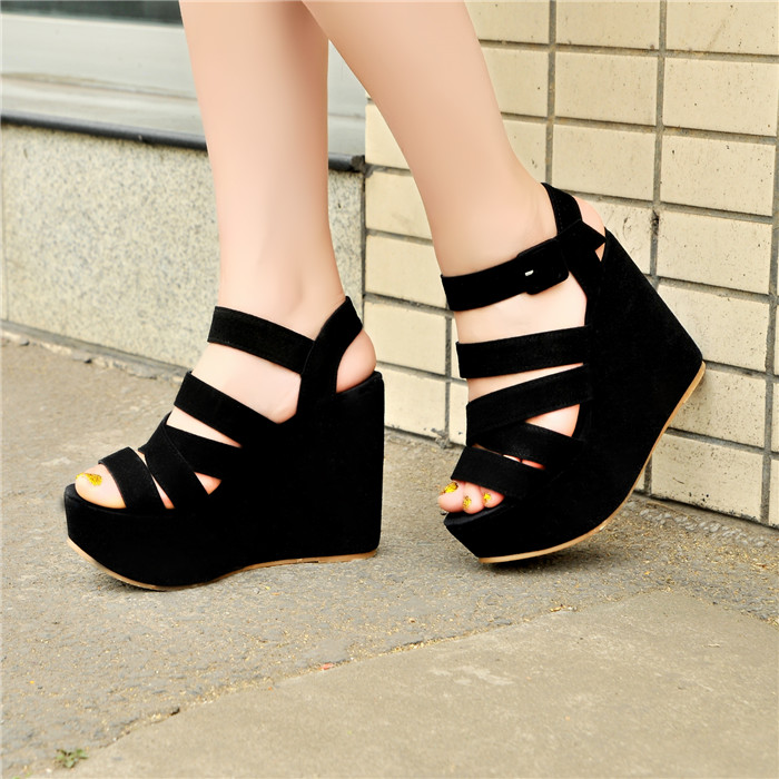 Sexy Casual Womans Summer 2016 Sandals High Heels Platform Super High Wedges Back Strap Female Cross Tied Gladiator Shoes Party<br><br>Aliexpress