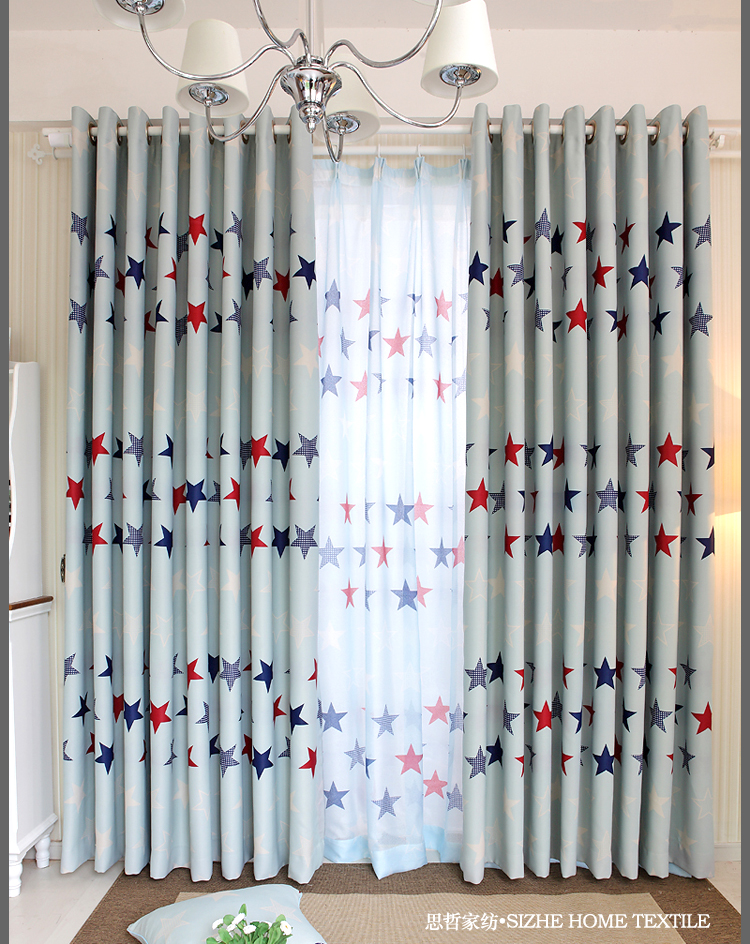 Blue five-pointed star pattern modern american curtain child real dodechedron quality full curtain size:1m(China (Mainland))