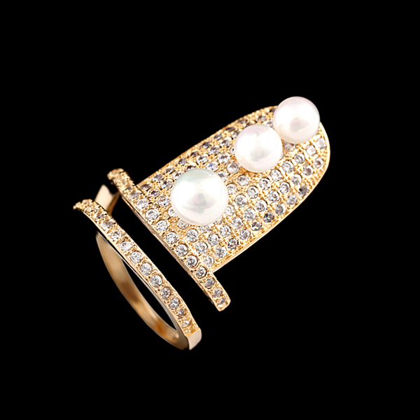 Unique Style New Arrival Imitation Pearl Handmade Gold Plated Rhinestone Fingernails Rings for Women RI-03005(China (Mainland))