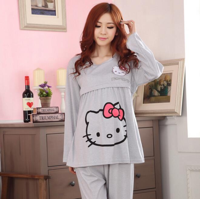 Fashion hello kitty pregnancy loungewear long sleeve nursing nightdress casual breastfeeding sleepwear set free shipping<br><br>Aliexpress