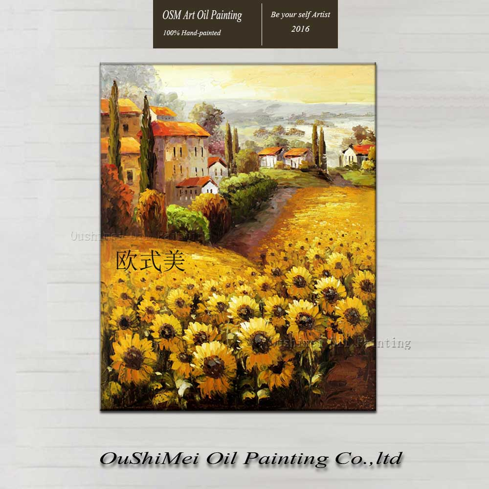 Handmade modern oil painting on canvas wall paintings sunflowers painting landscape for living for Landscape paintings for living room