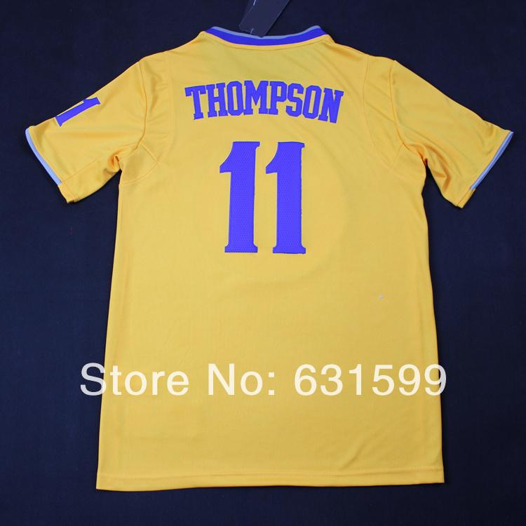 top class yellow color golden states basketball jersey gray thompson training shirt summer sport - Cloud Town store