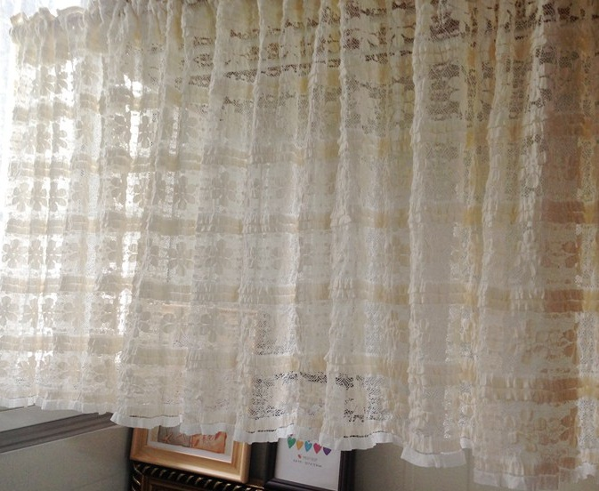 Free shipping Pastoral beautiful Soft lace half-curtain coffee curtain kitchen curtains transparent beige 200*50cm