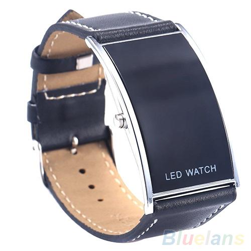 Men s Women s Arch Bridge Style LED Digital Date Faux Leather Strap Wrist Watch 3MGN