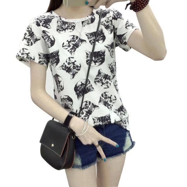 Women Cartoon Cat T-shirt
