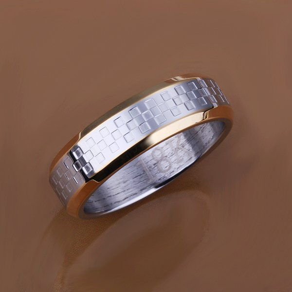 Men's Stainless Steel Four Square Wang's Ring #8 Jewelry Whosesale  Free shipping
