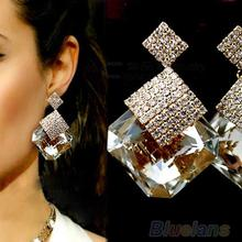 New Fashion Women Square Crystal Luxury Sparkling Big Drop Earrings  1GCV(China (Mainland))