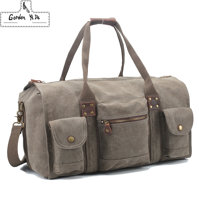 Vintage Retro military canvas leather men travel bags luggage bags Men Duffle Bags leather overnight Bag Tote carry on Luggage(China (Mainland))