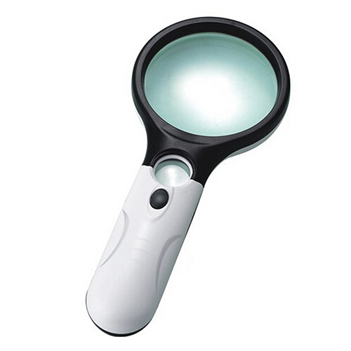 popular brand new 3 led lights 45x handheld magnifier. Black Bedroom Furniture Sets. Home Design Ideas