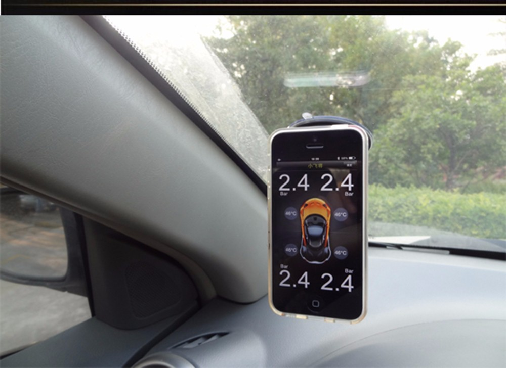 Smartphone TPMS with 4 external sensors monitor the pressure and temperature of the tire, Bluetooth support IOS, Android