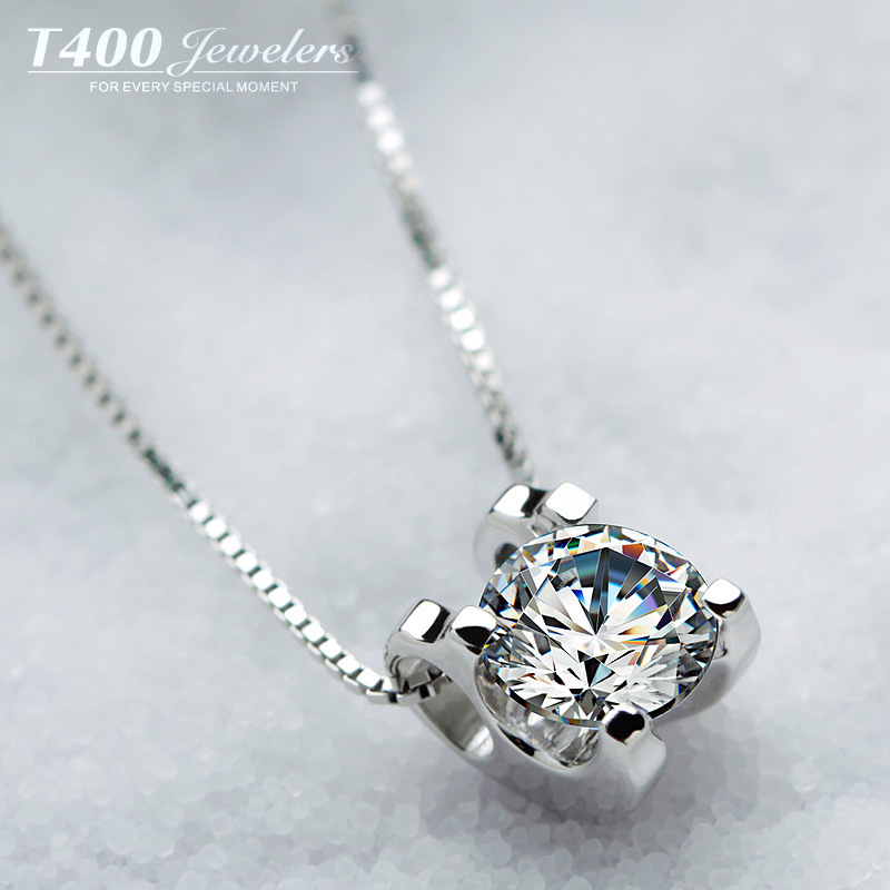925 Sterling Silver Cubic Zirconia Simulated Diamond Necklaces & Pendants Genuine 925 with Chain for Women jewelry 2015 new(China (Mainland))