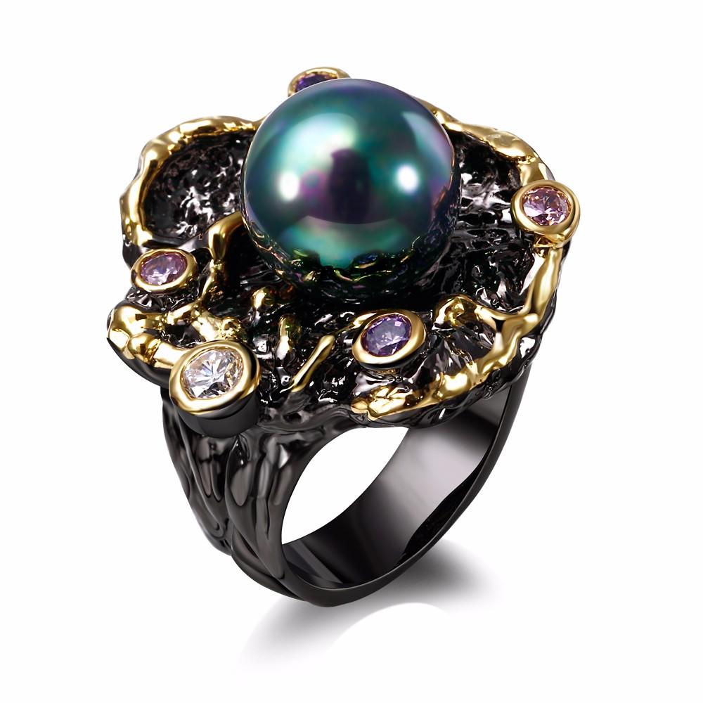 Mansaku 2016 New Elegant Flower Fresh water pearl Cubic Zirconia 18K Gold & Black Plated Luxury rings for women(China (Mainland))