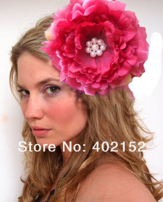 Women Peony Hair Flower with Pearl Wedding Flower Hair Clip Dress Apparl DIY Accessories 10Pcs/Lot(China (Mainland))