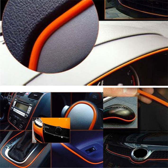 Durable 5m Flexible Trim For Car Interior Exterior Moulding Strip Decorative Line Fast Shipping(China (Mainland))