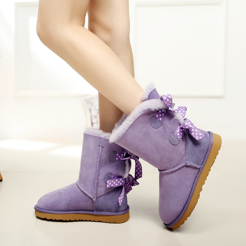 High quality real Australian Sheepskin boots in the snow tube female section decorative bow(China (Mainland))