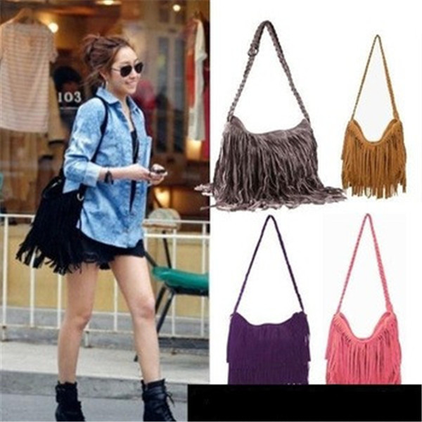 Promotional 2014 Fashion Shoulder Bag + Vintage Tassel Cross Body All-match Women Messenger Bags Popular Women Handbag bz851242(China (Mainland))