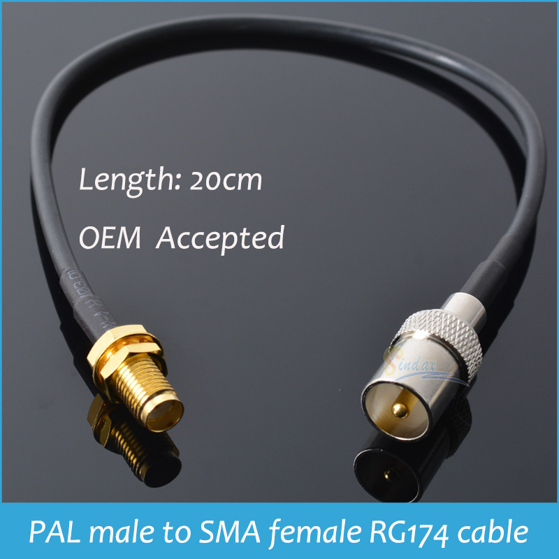 Sindax IEC DVB-T TV PAL male to SMA female RG174 cable jumper pigtail 20cm Drop Shipping(China (Mainland))