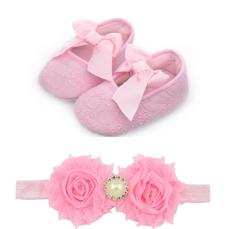 Spring Newborn First Walkers Fashion Shoes Rose Red Lace Design Baby Shoes & Toddler Infant Fabric Baby Booties Headband Set(China (Mainland))