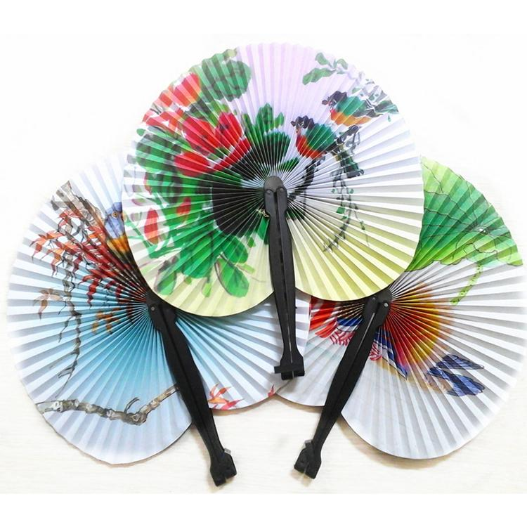 Vintage Small Round Paper Folding Fan Chinese Oriental Floral Hand Make Fans Wedding Table Favours Home Decor Fan-0003(China (Mainland))