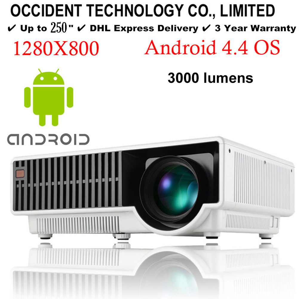 """250"""" Android WIFI Bluetooth Brightest 3000Lux Full HD DLP Business Advertising Education 3D Projector Beamer Projektor Proyector(China (Mainland))"""