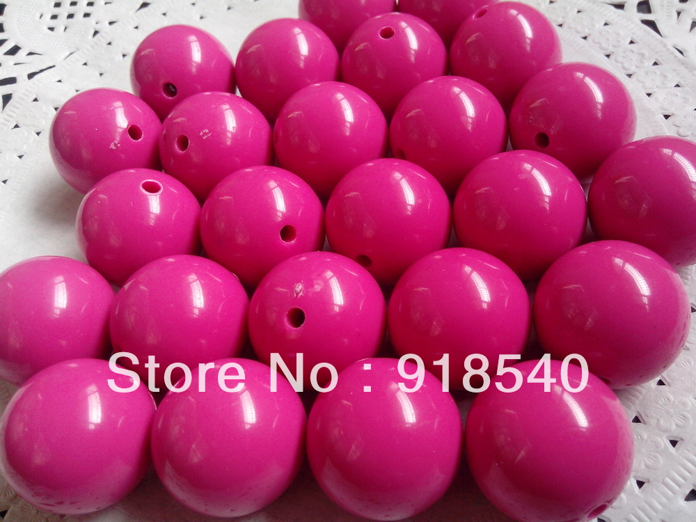 Hotpink Large 20MM 105pcs Big Chunky Gumball Bubblegum Acrylic Solid Beads ,Colorful Chunky Beads for Necklace Jewelry(China (Mainland))