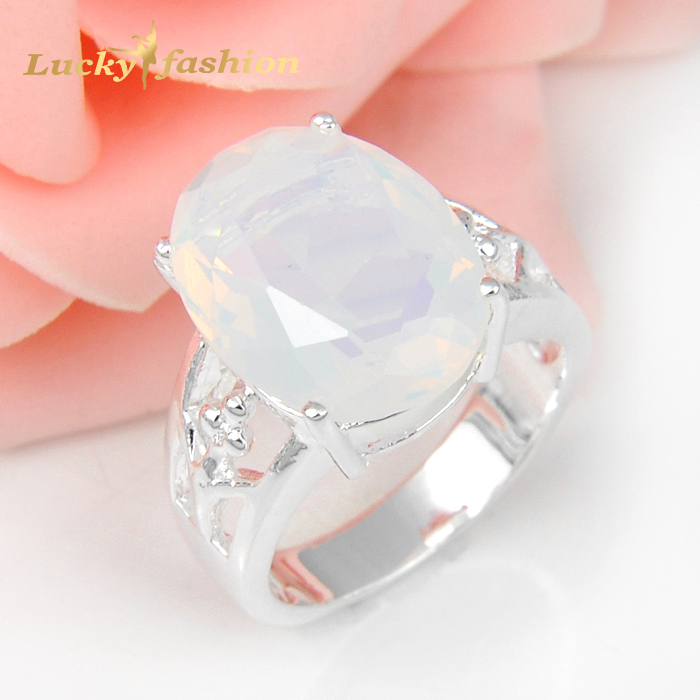 2Pcs 1 Lot  Classic Oval Crystal Fire Moonstone 925 Sterling Silver  Wedding Jewelry  Rings Russia Rings Australia Rings<br><br>Aliexpress