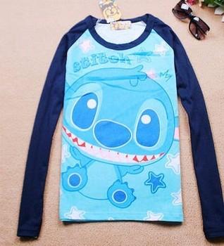 2013 autumn and winter female stitch cartoon o-neck long-sleeve T-shirt basic shirt