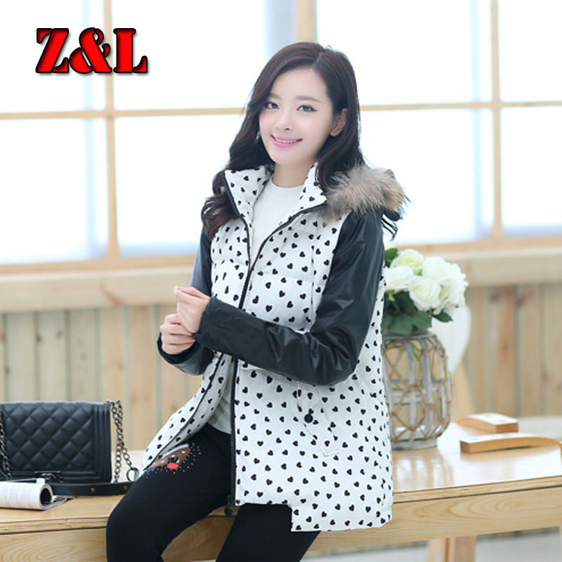 2015NEW~Winter maternity clothing PU sleeve stitch thickening jackets for pregnant women printed Printed Heart maternity coats <br>
