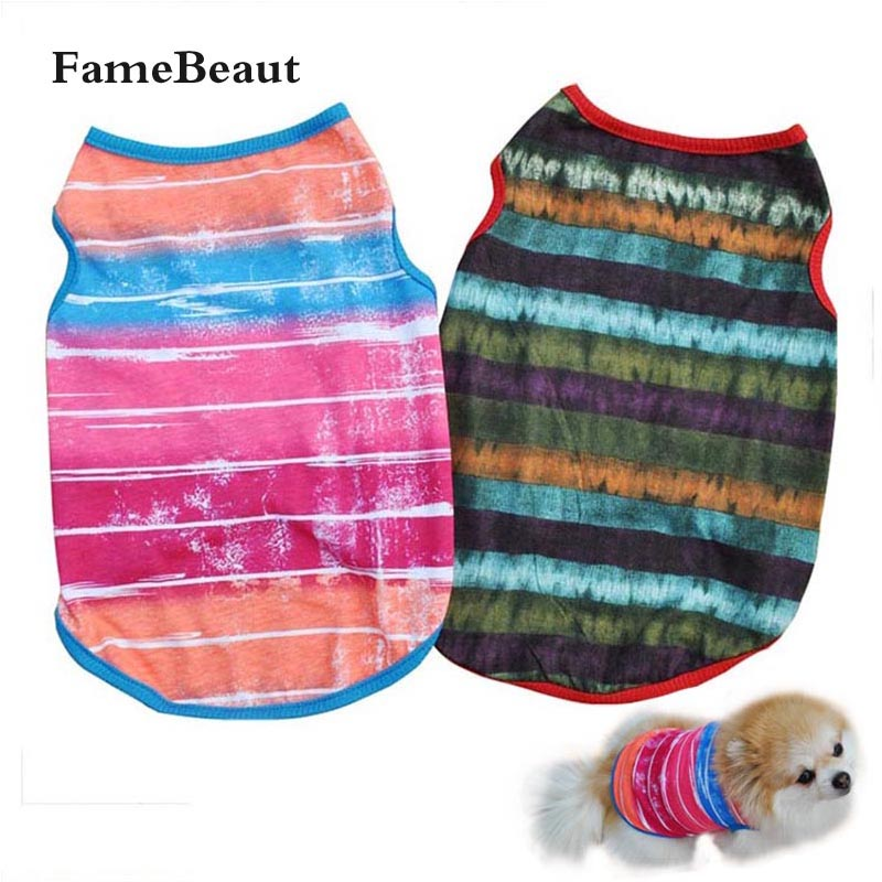 Cotton Pet Dog Clothes Striped Pattern Pet T-Shirt Clothing Summer Breathable Cozy Pet Vest Clothes Dogs