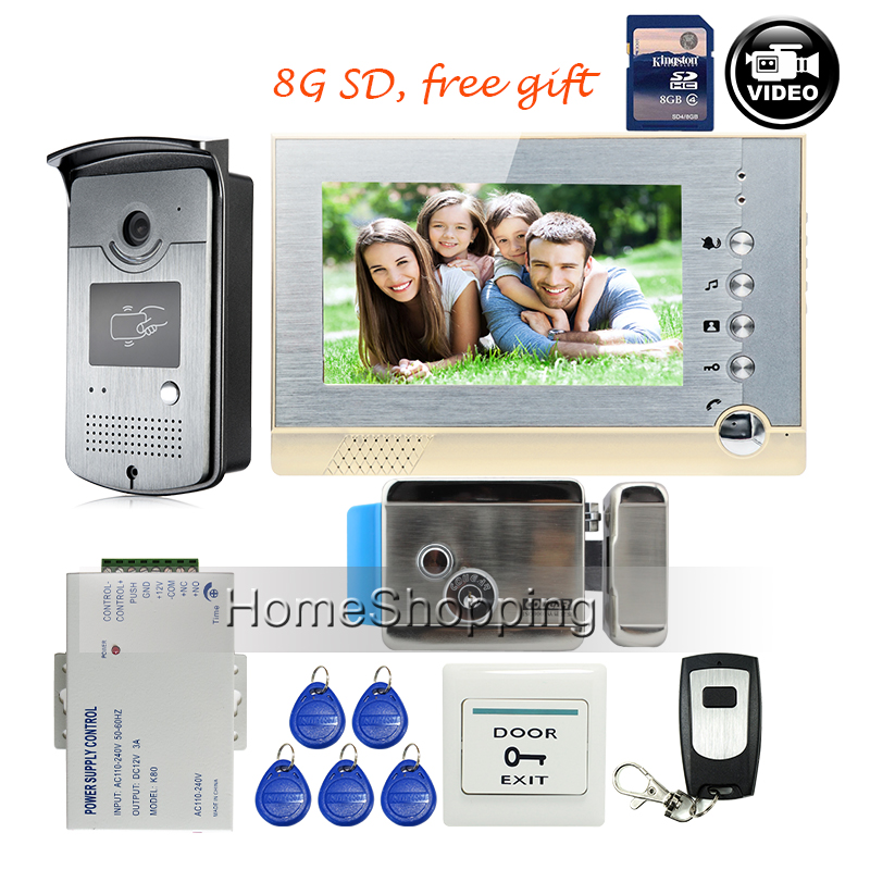"FREE SHIPPING New 7"" Screen Recording Video Intercom Door Phone System + Outdoor RFID Access Door Camera + Electric Lock + 8G SD(China (Mainland))"