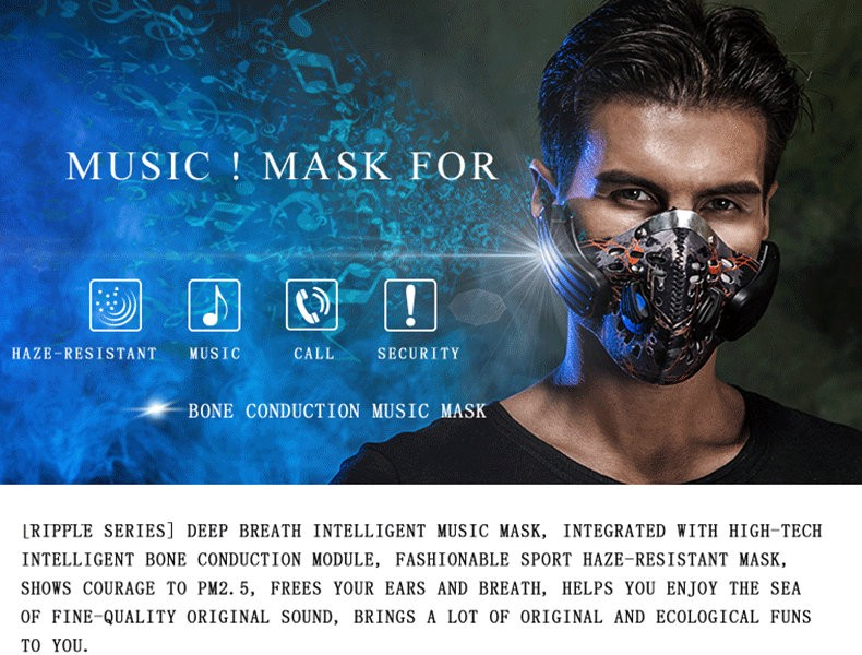 Factory directly sell Mask Wireless Bone Conduction Headphones training mask wireless headset for Outdoor Sports 2 colors