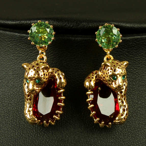 NEW ARRIVAL France brand Animial series leopard Red crystal earrings statement bib Earrings for women jewelry(China (Mainland))