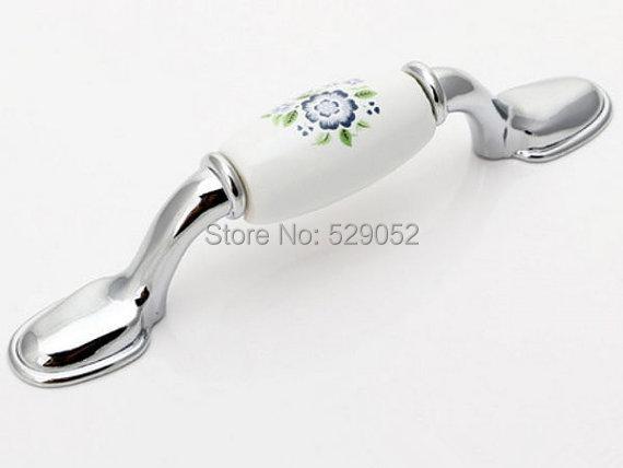 Ceramic Kitchen Cabinet Pulls Handles Knobs White Silver Blue Blossom / Dresser Drawer Pull Handles Knob Porcelain Door Handles