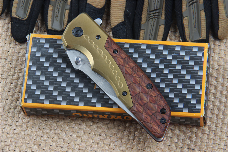 Buy Browning DA77 5Cr15Mov Tactical Folding Utility Knife Fighting Steel Mahogany Handle Outdoor Survival Tools Hunting cheap