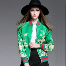 New Autumn 2016 Women Coat Green floral embroidery bomber jacket long sleeve Women Jacket flight jacket outerwear casual tops(China (Mainland))