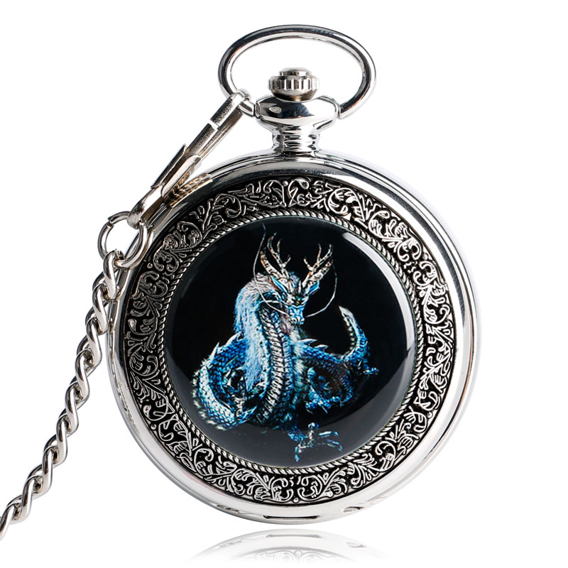 Vintage Fob Mechanical Pocket Watch Clock Cool Dragon Necklace Wind Up Hand Winding Steampunk Christmas Gift relogio de bolso(China (Mainland))