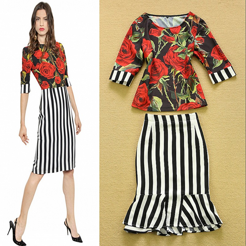 Wonderful 2015 Autumn Winter Skirt Suit Woman 2 Piece Set Women White Short Coat And Elegant Floral Print ...