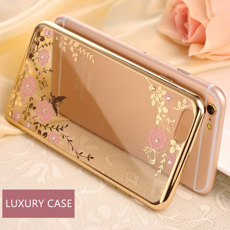 For iPhone 6 case Rhinestone Cases Clear Crystal Bling Gliter Phone cases for iPhone 5s SE 6 Plus 6Plus 7 Plus Protector Cover(China (Mainland))
