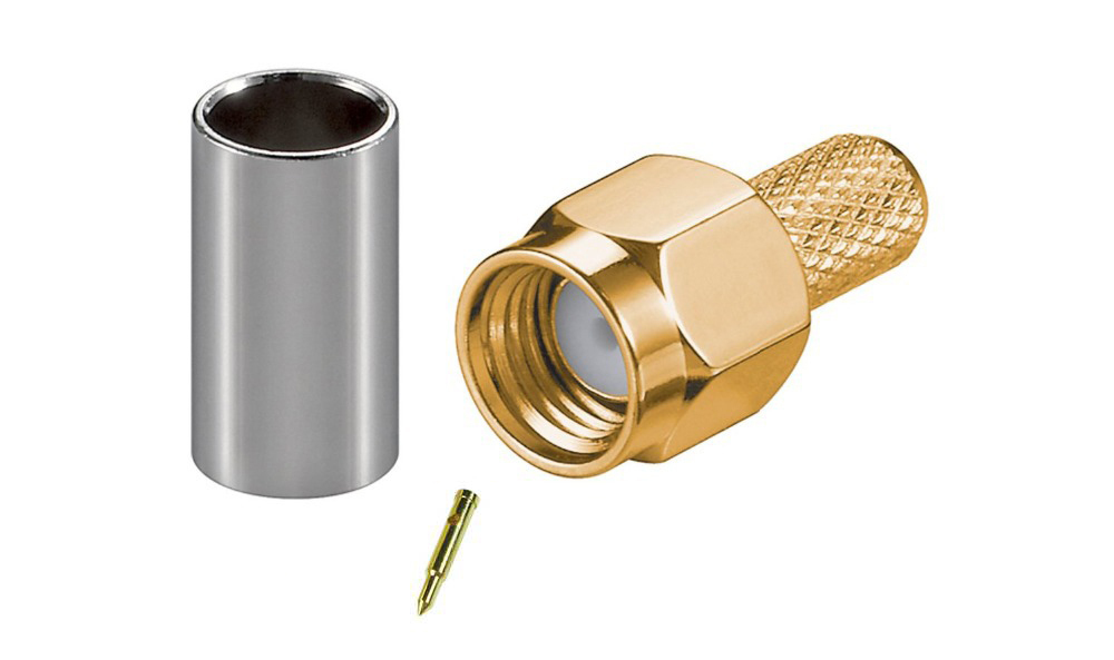 50pcs Gold plated SMA male plug crimp RG58 RG142 LMR195 RG400 Coxial rf connector for Mobile signal booster repeater Antennas(China (Mainland))