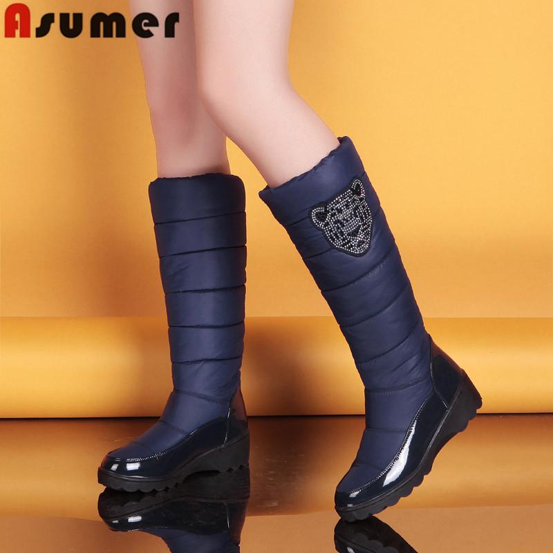 2015 fashion winter boots patent leather platform fur